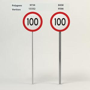 3d model speed limit-100