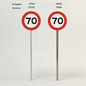 speed limit-70 3d max