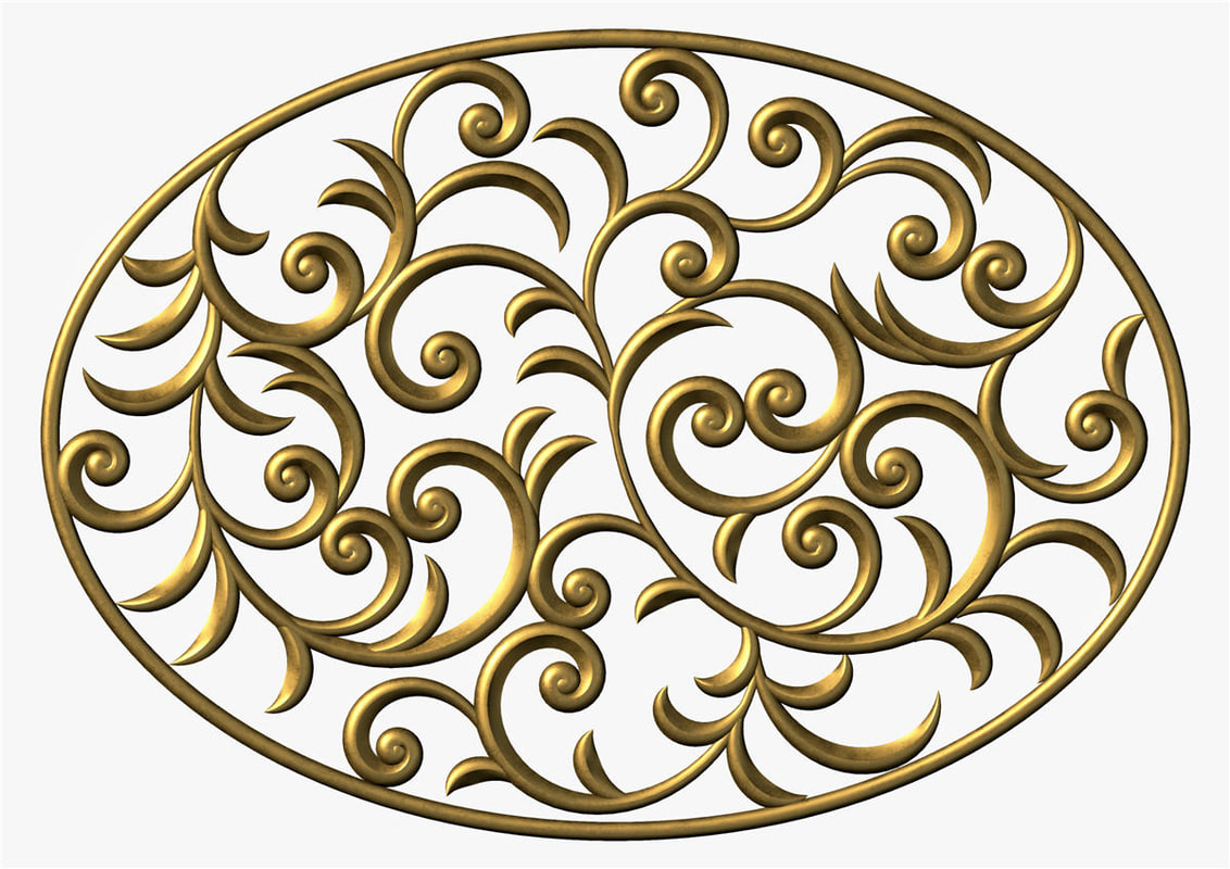 3d model swirl ornament floral
