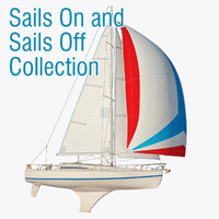 Generic Sailboat sails up and sails down collection