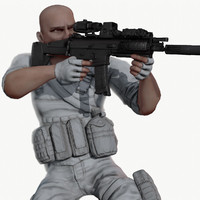 Rigged PBR Game Ready Male Soldier Hunter Militant  Paramilitary