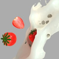 splash strawberries 3d obj