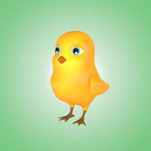 3d model chick cartoon animation