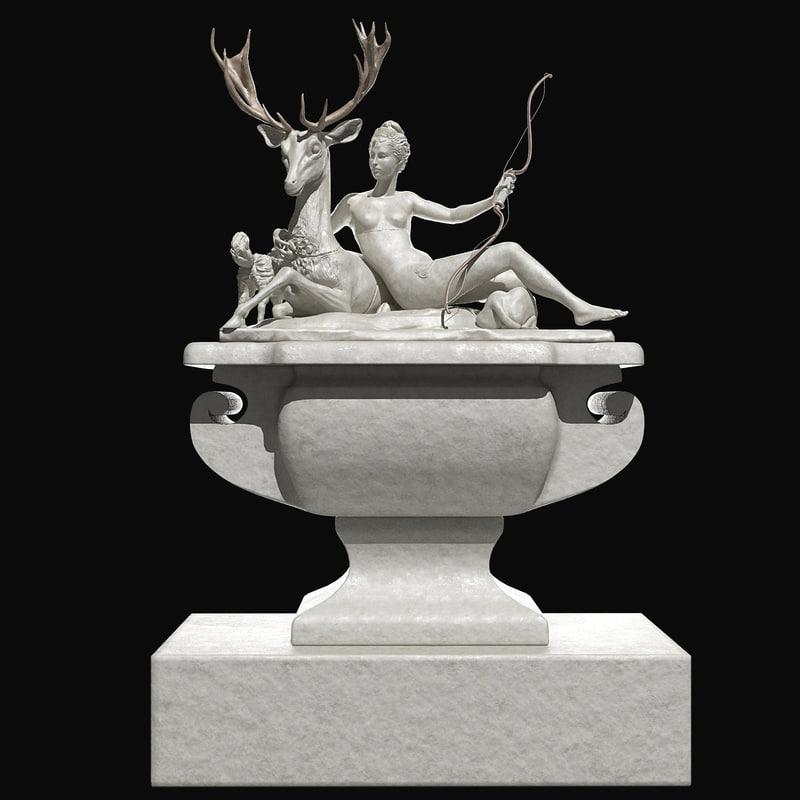 3d model fontaine diane