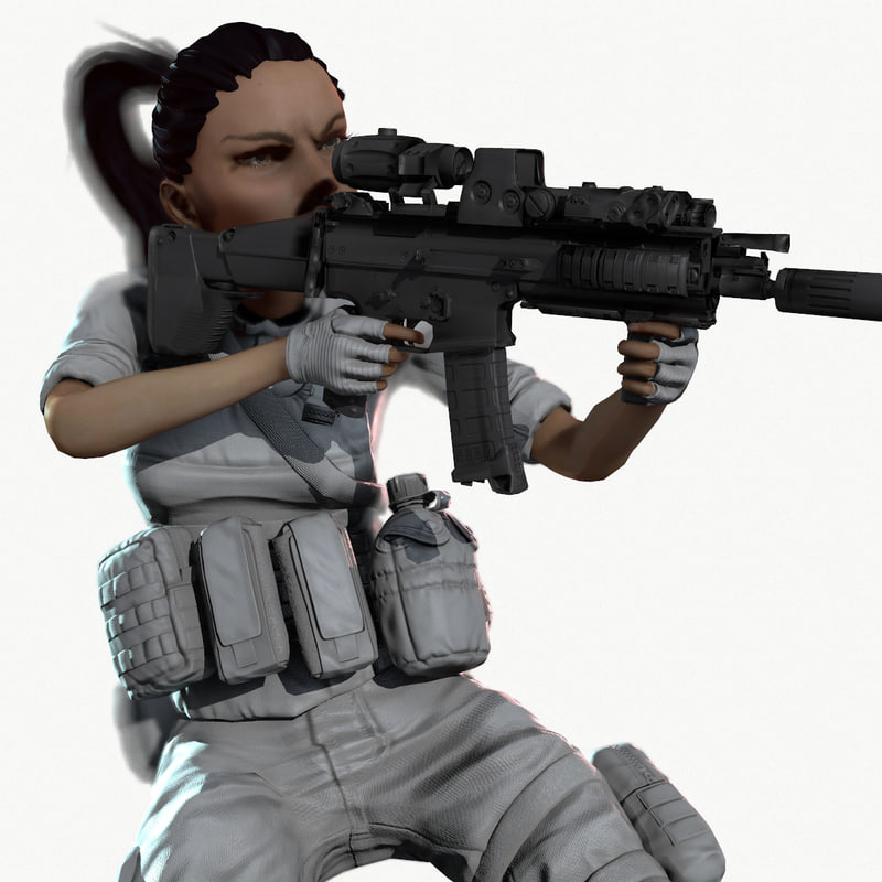 max rigged ready soldier animation