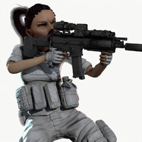 Rigged PBR Game Ready Female Soldier Hunter Militant Paramilitary