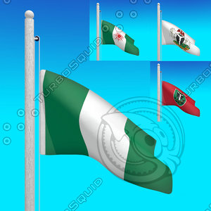 3d flags nigeria - animation model