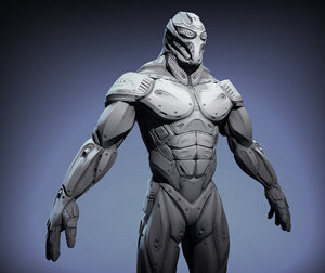 sci-fi male character obj