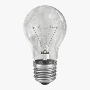 3d model incandescent light bulb