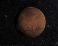 3d model of realistic mars planet atmosphere