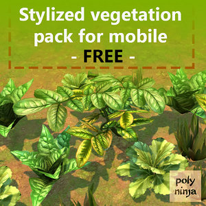 free pack stylized vegetation mobile 3d model