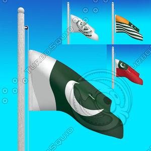 3d model of flags pakistan -