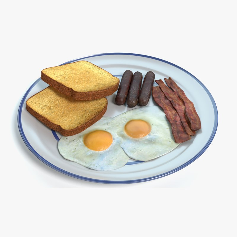 3d plate breakfast model