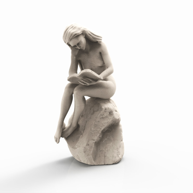 fbx reading woman statue