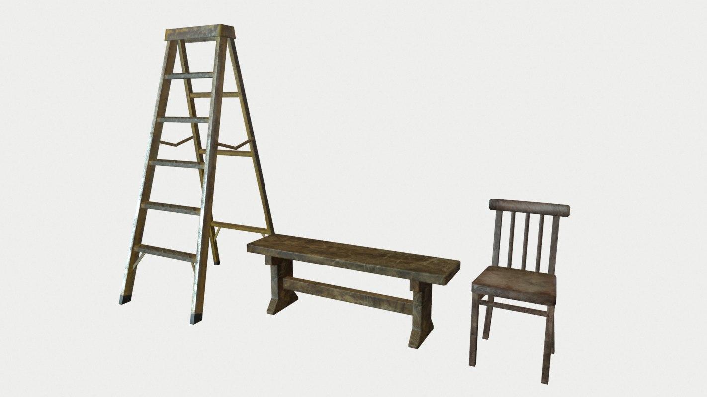 chair bench ladder 3d model