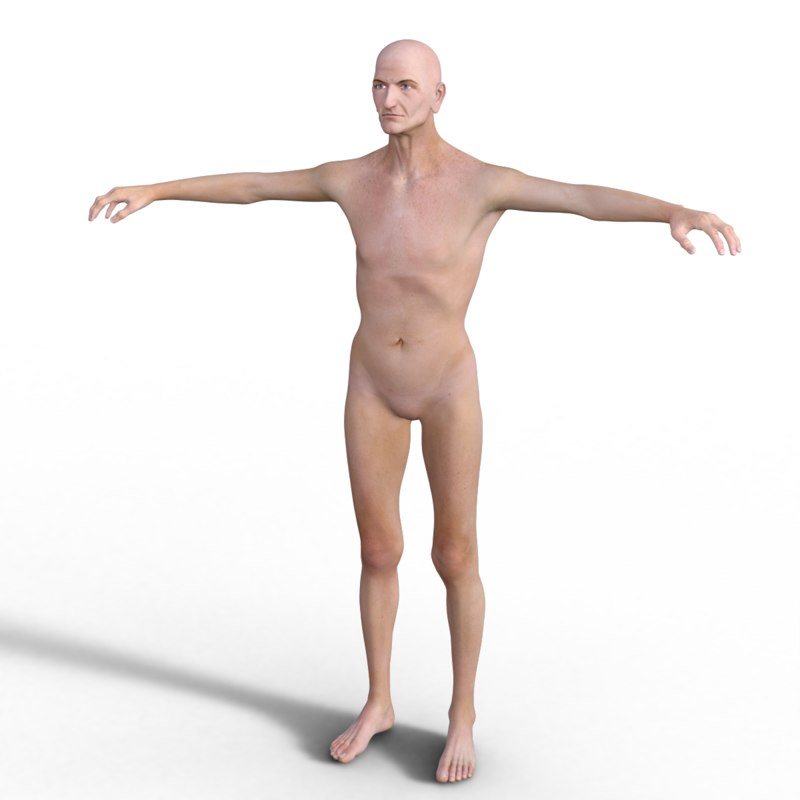 3d realistic rigged old man