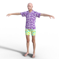 Realistic Hawaiian Old Man - Rigged