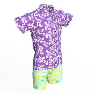 3ds realistic hawaiian clothing