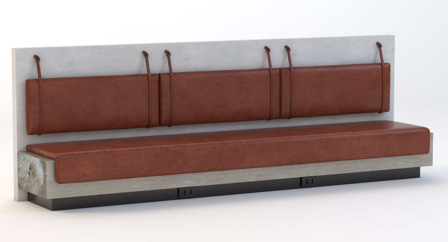 3d max leather bar bench