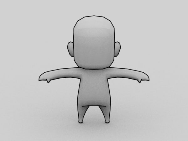 3d Anime Chibi Character Template Model