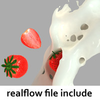 splash strawberries realflow flow 3d model