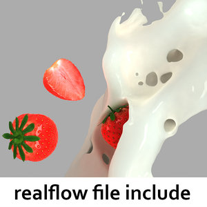 splash strawberries realflow flow 3d model