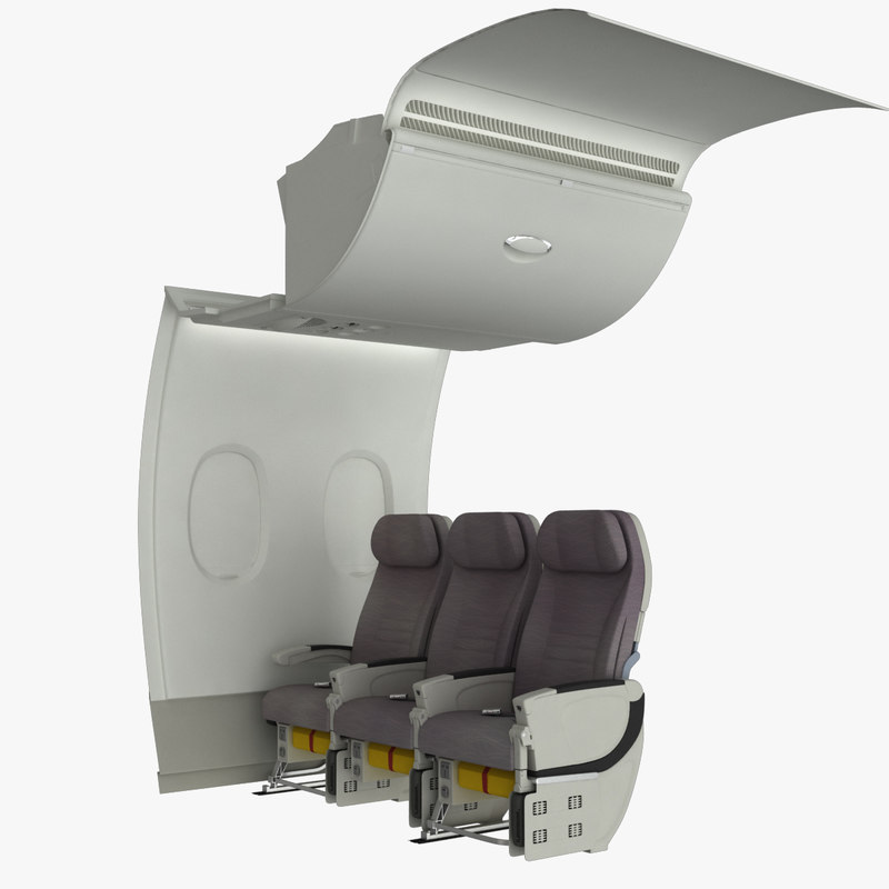 airplane cabin wall a380 3d ma