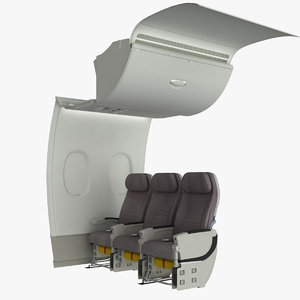 airplane cabin wall a380 3d ma