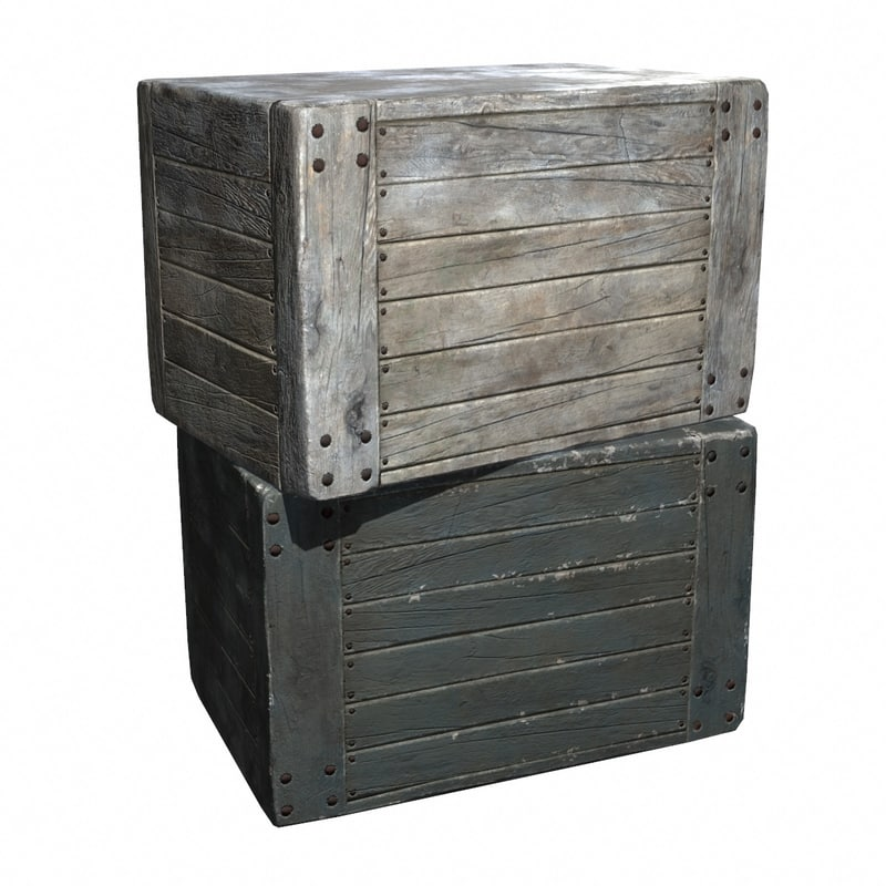 wood crate boxes 3d model