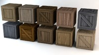 low-poly wooden crates 3d model