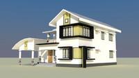 3d modern house exterior -3