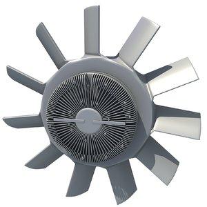 3d engine cooling fan modeled model
