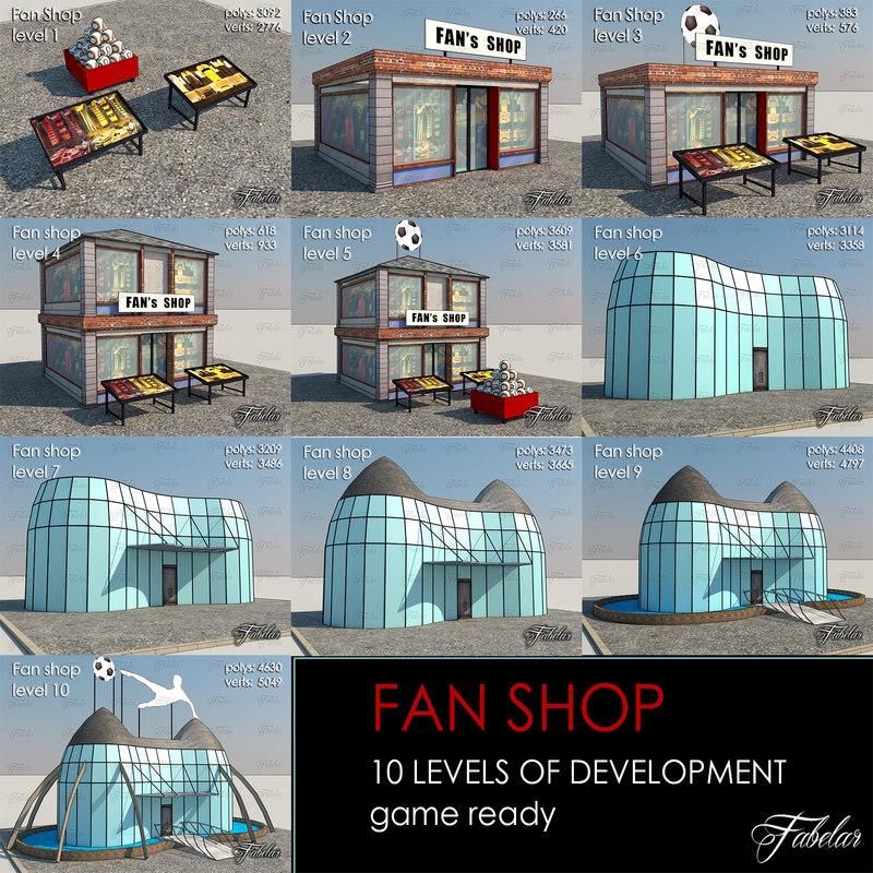 fan shop 10 levels 3d max