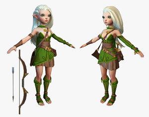 cartoon elf ranger 3d max