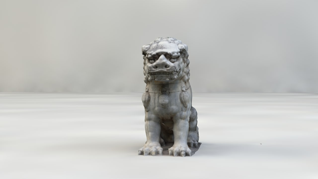 3d lion statue chinese model