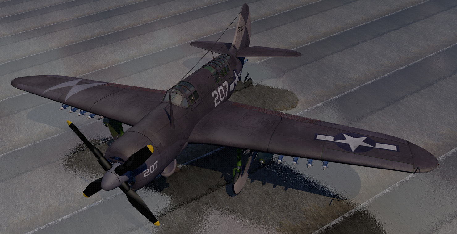 curtiss sb2c-4 helldiver dive 3d model