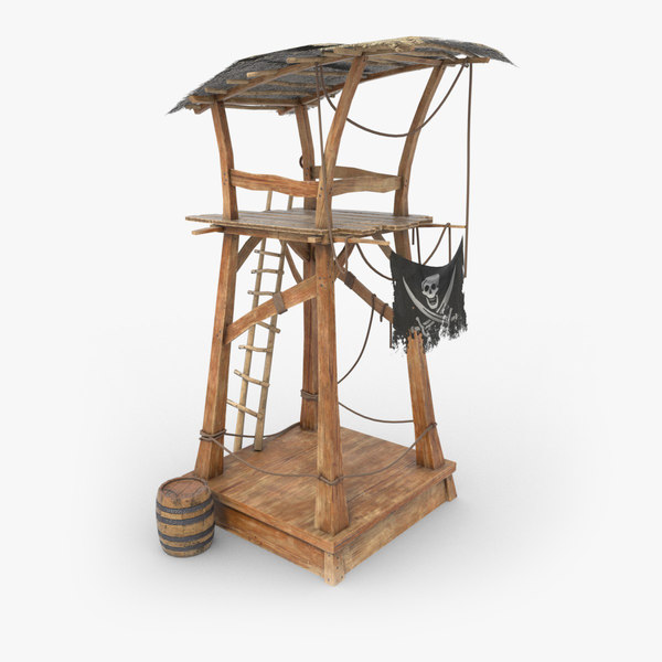 3d wooden tower pirate model