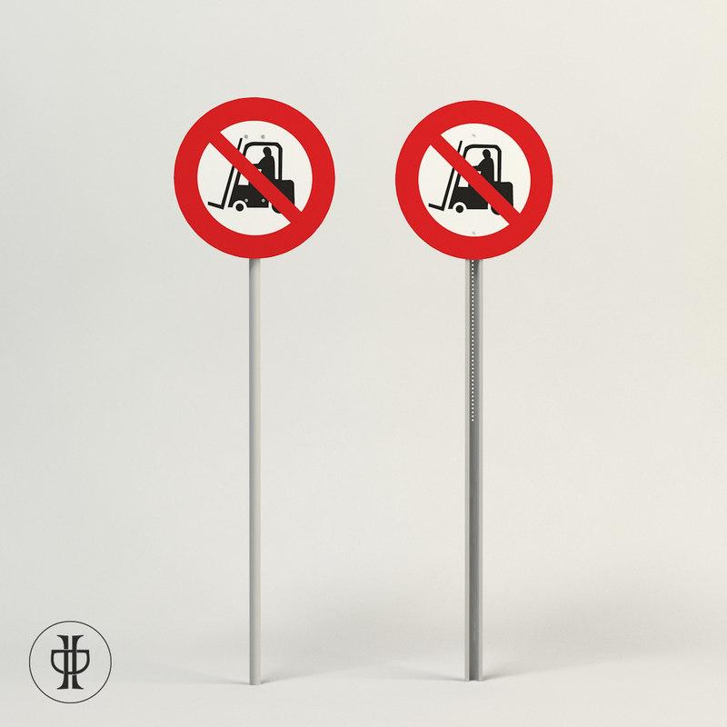 job prohibit forklift area 3d model