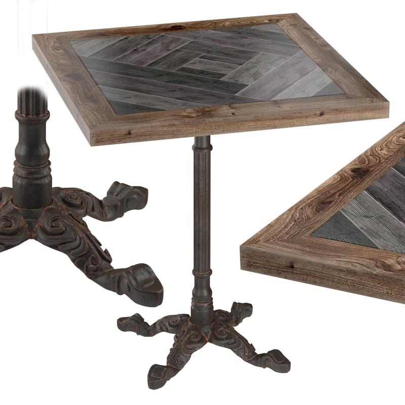 cast iron wood restaurant table obj