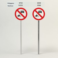 3d model prohibiting thoroughfare sign motor