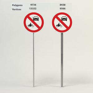 3d model prohibiting thoroughfare sign motor