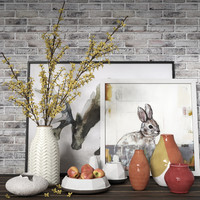 Forsythia and Vases Composition