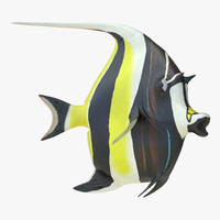 3d moorish idol fish rigged