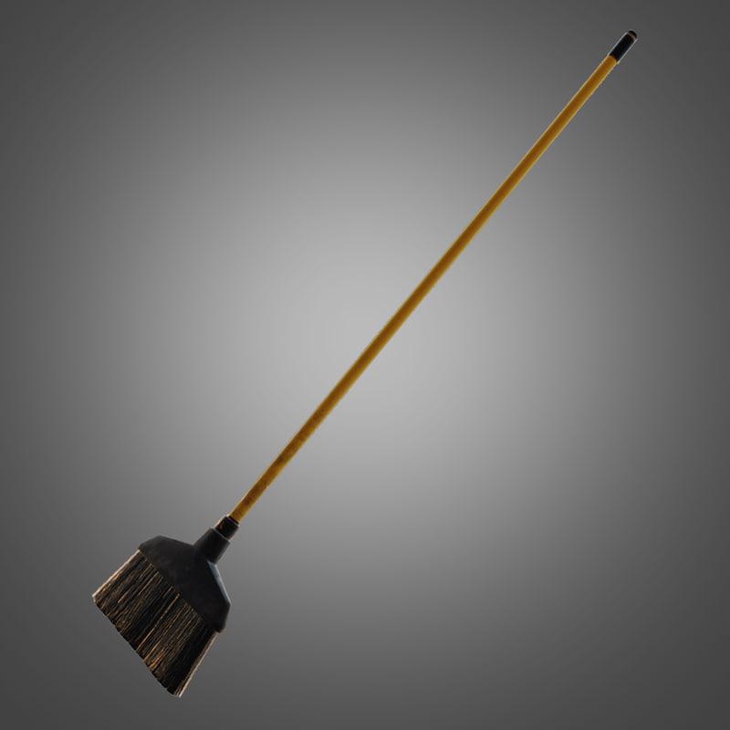 plastic broom - pbr 3d ma