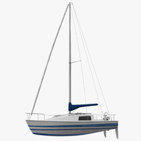 3d model small sailing yacht 2