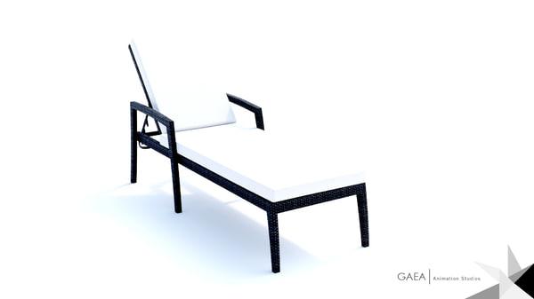 3d model beliani wicker outdoor lounge chair