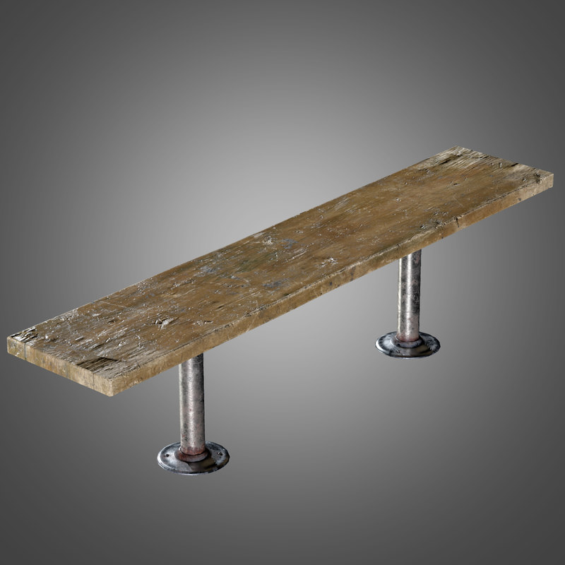 3d long wooden bench -
