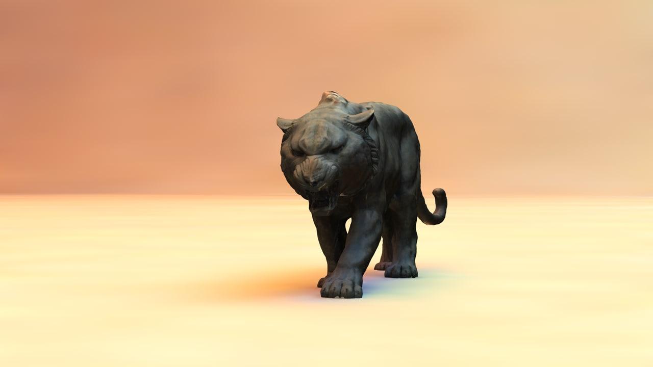 statue panther 3d c4d