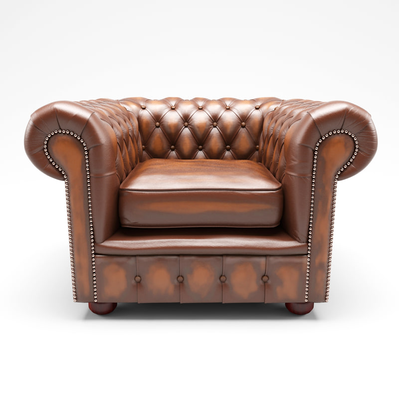 chesterfield armchair chair obj