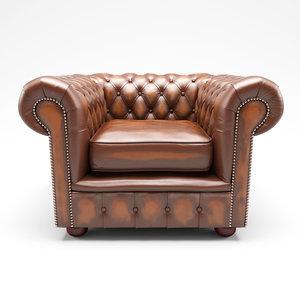 chesterfield armchair chair obj